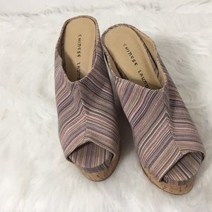 ⭐️Chinese Laundry Stripe Canvass Wedge Heels 7⭐️